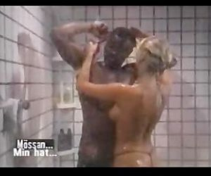 Pornstar legend Silver Forrest fucks black tramp in the shower