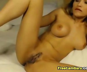 Busty Hottie Blonde Loves to Lick and Ride her Toy