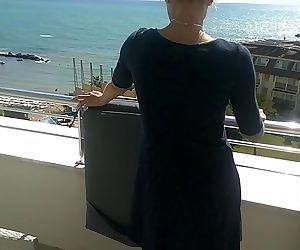 Sunny day anal fuck on hotel balcony