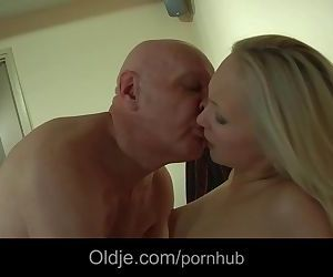 Bald old perv catches his younger blonde girlfriend..