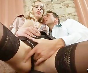 Blonde babe in lingerie and stockings gets her pussy..