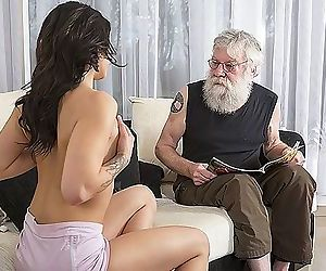 Old Young Porn Sexy Teen Fucked by old man on the couch..