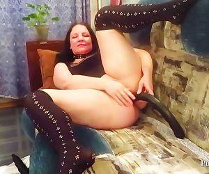 Mature milf fucks big dildo my holes!