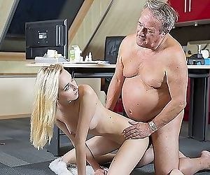 Young Old porn Martha gives grandpa a blowjob and has sex..