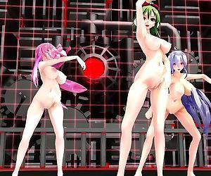 3D MMD Naked and Voluptuous Gumi, Luka & Haku - ECHO