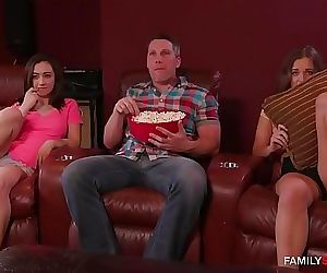 Dad fucks step daughter and her friend watching a matinee..