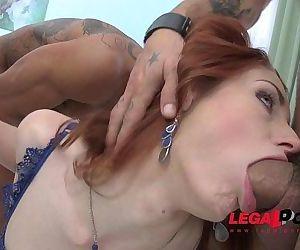 Redhead slut Violet Monroe rough anal fucking & DP SZ1397 HD