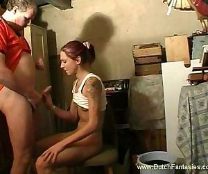 Skinny Brunette Dutch Teen Abused