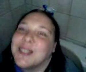 Bathroom toy: my fat & ugly fuckpig whore on the toilet -..