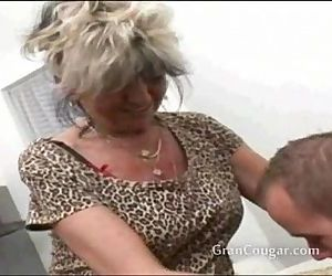 Sexy old granny wants him now and wont stop til she gets..