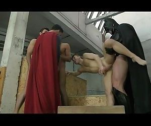 Young studs fuck by Superman and Batman