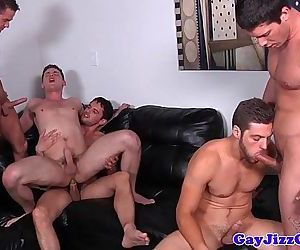 Gay jock orgy with five cockhungry dudesHD