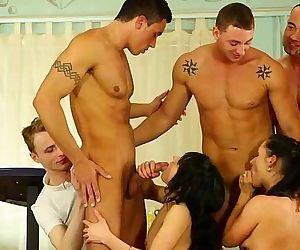 Bi group orgy sluts sucking