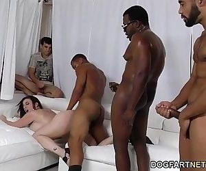 Sara Jay gets ganbanged by black dudes in front of her sonHD