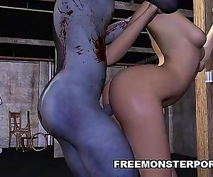 Short Haired 3D Babe Fucked Rough by a Zombie 5 min HD