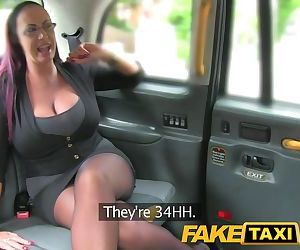 FakeTaxi Secretary looking lady with huge tits and a..