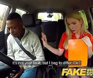Fake Driving School Long black cock pleases busty blonde..