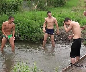 Foursome bareback fun out in the countrysideWilliamHiggins..
