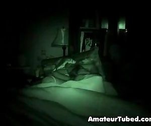 Mom and dad going at it on hidden nightvision cam - 5 min
