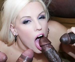Horny blonde interracial anal gandbang then swallows cum..