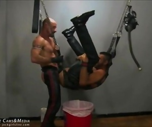 Nasty Leather Daddy Ass Fucks his Slave at JockMenLive