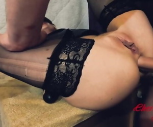 Hot Milf fucked in all holes on the table. Two Dicks in..