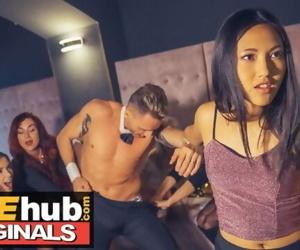 LADIES CLUB Asian Teen Swallows Stripper's Cum in Public..