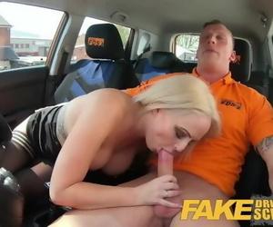 Fake Driving School Muscular Hunk Finger Blasts Blonde to..
