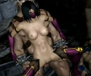 Shao Kahn Fucks Kitana, Jade, and Mileena
