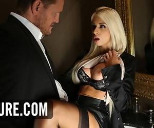 Blonde Chloe Lacourt Quickie in Ladies Room