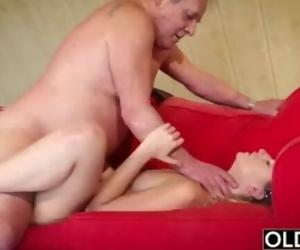 Fat old Man Fucked by Beautiful Girl Teen Blowjob Cumshot..