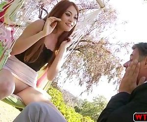 Slutty teen Kim Blossom gets her tits sucked by her horny..