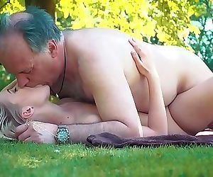 Petite teen fucked hard by grandpa on a picnic she blows..