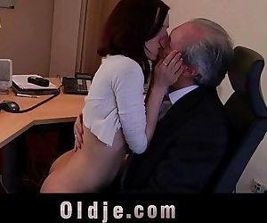 Cutie young secretary horny for boss old cock fucks in 69..