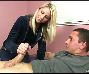 Sexy Blonde Teen Jerks Off A Dick - 5 min