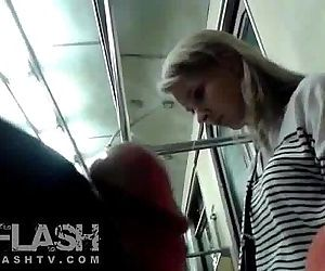 Flash Cum for Blonde Amateur Teen in Public Train