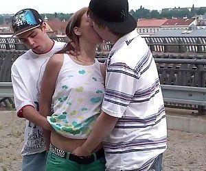 Young pretty girl PUBLIC gangbang