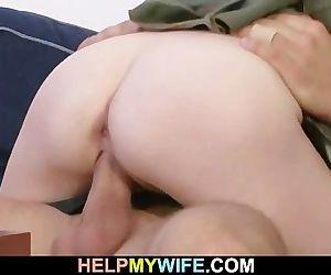 Lovely blonde wife cucks old hubby