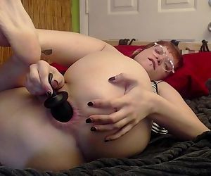 Horny Slut Stretching Asshole with Inflatable Butt Plug