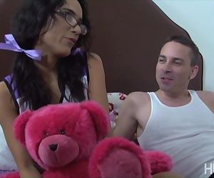 Cheerleader with pigtails rides boyfriend's cock as after..