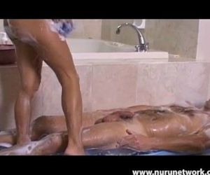 Tiny Asian Teen Kitty Gives a Soapy Massage - 10 min