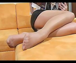 Shiny Pantyhose Tease and Nice Feet Nylon !!!!!