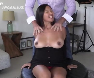 Thick Asian with Huge Tits Bounces all over Daddys Dick!