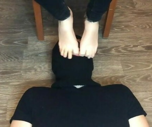 Girl in Ped Nylon Socks Domination and Mistress Boy Foot..