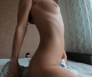 VIRGIN PUSSY SUDDENLY CUMS Fucking herself with Pillow -..