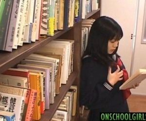 Saya Misaki arouses crack with vibrator under skirt at library - 10 min