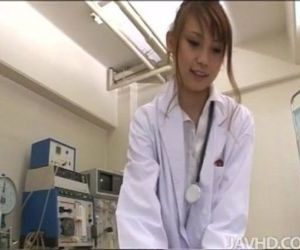 Horny nurse Ebihara Arisa gives her male patient an unusual sexual exam - 5 min