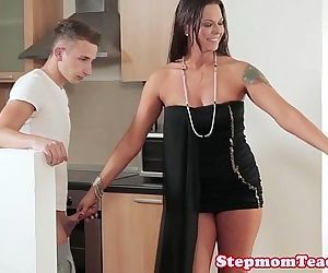 Tattooed stepmom cocksucking in trio - 10 min HD