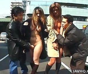 Two wild Asian girls walking naked in public - 6 min