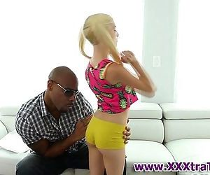 Tiny teen rides black rod